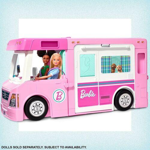 Playset con 3 Veicoli e 50 Accessori Giocattolo Camper dei Sogni 3 in 1 Barbie
