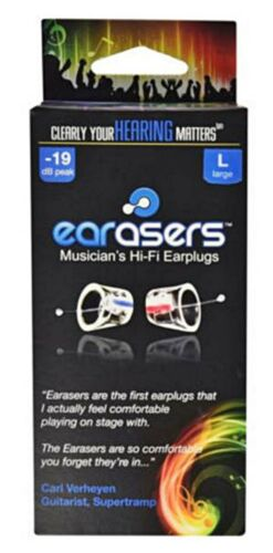 Earasers Musician's Hi-Fi Earplugs Large with free Stash-Can   Authorized Dealer