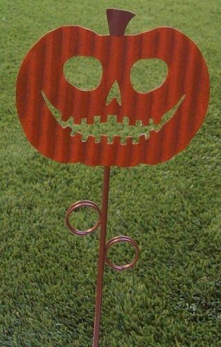 Garden Lawn Yard Decoration Halloween Happy Pumpkin metal pick stake NEW 18 tall
