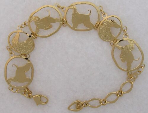 Afghan Hound Jewelry Gold Bracelet by Touchstone Dog Designs