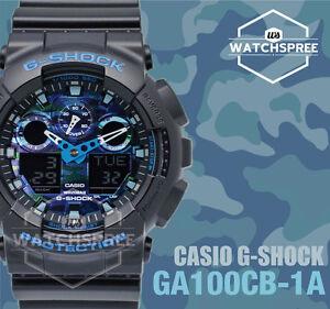 a70f2e6b3a66 Casio G-Shock Blue tone Camouflage GA-100 Series Watch GA100CB-1A ...