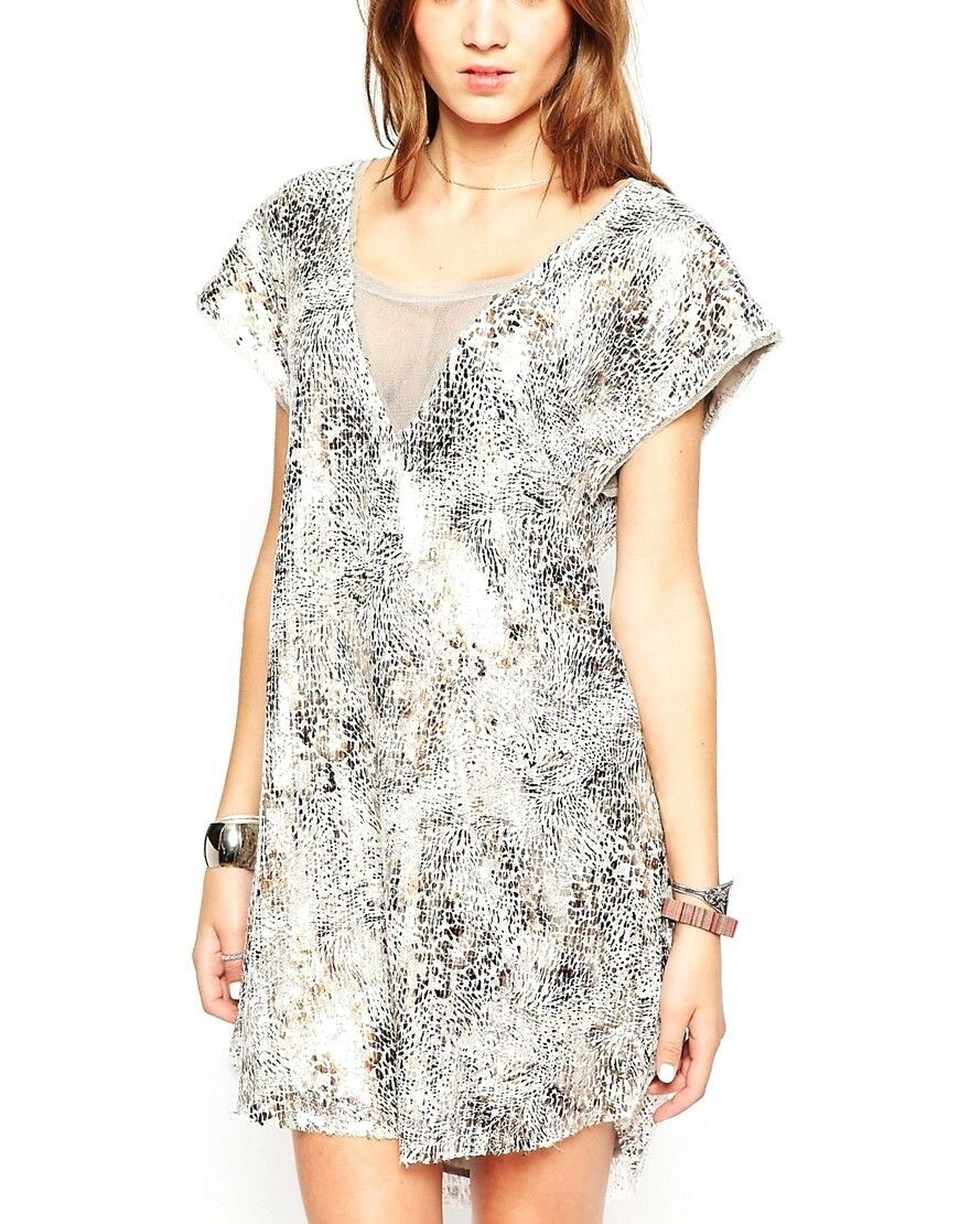 NEW FREE PEOPLE Shatterot Glass Sequin Lace Midnight Dreamer Cut Out Dress - S