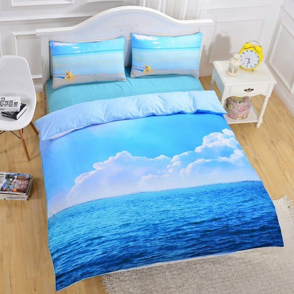 Ocean Sea Sand Starfish 3D Beach Double Single Quilt Duvet Pillow Cover Bed Set