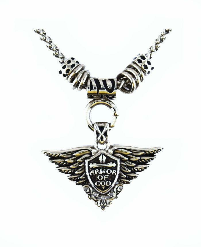 SK2272 Armor Of God Pendant With 19  Chain Stainless Steel Motorcycle Jewelry