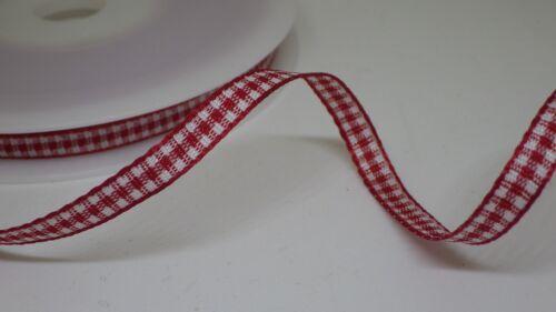 Red Gingham Check ribbon 6 mm ou 10 mm Large en 2 M ou 5 M Coupé Longueurs-ENVOI GRATUIT