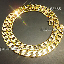 """24"""" 12mm 24k yellow gold filled men's necklace curb chain jewelry(STAMPED ITALY)"""
