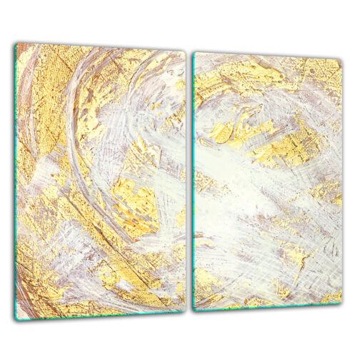 Herdabdeckplatten Ceranfeldabdeckung Spritzschutz Glas 2x30x52cm Golden Modern
