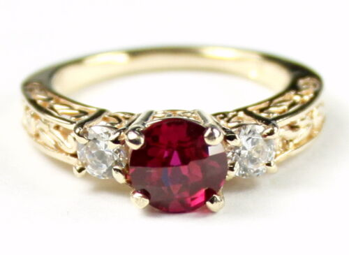 Created Ruby w// 2 Accents 10KY or 14KY Gold Engagement Ring R254-Handmade