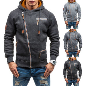 Men-039-s-Winter-Hoodies-Fleece-Hooded-Sweatshirt-Outwear-Jumper-Sweater-Coat-Jacket