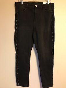 Details about NWT AMERICAN EAGLE Super Stretch Hi Rise Jegging Sz 16R Black Studded #823121