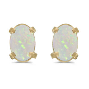 14k-Yellow-Gold-Oval-Opal-Earrings