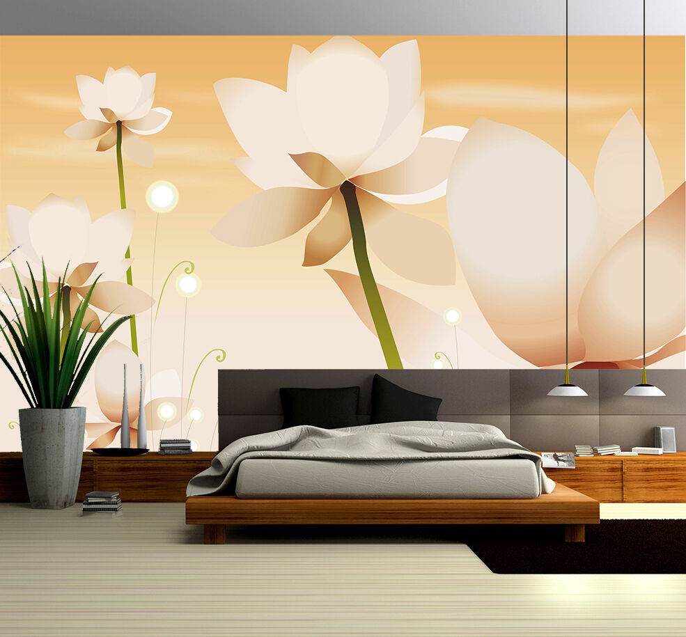 3D Weiß pure lotus 456 Wall Paper Print Wall Decal Deco Indoor Wall ...
