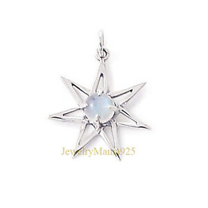 Sterling silver 925 heptagram septagram star pendant 6 mm moonstone plata esterlina 925 heptagram septagram star colgante 6 aloadofball