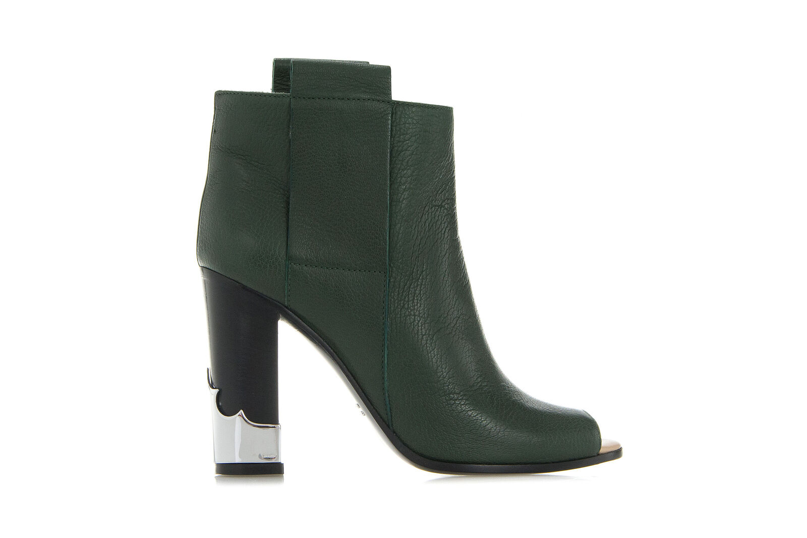 GOLDEN GOOSE Womens Shoes Ankle NUI BOOTS Green Pebbled Leather Open Toe