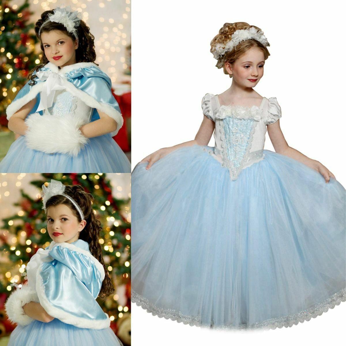 Girls Kids Children Frozen Elsa Blue Long sleeves Cape Party Costume Dress 1-7yr