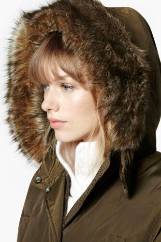 Khaki Uk10 Connection Womens Coat Rrp Us6 Parka Faux Fur £225 Eur38 French EqTSRHx
