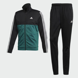5c3ea4b9 Adidas mens Track suit 3 stripes black green white jacket and pant ...