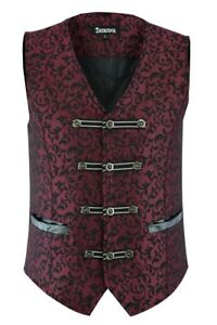 Gilet Premium Vtg Goth Vest Damascato broccato Mens Marrone Steampunk Velluto vq6HAEqrR