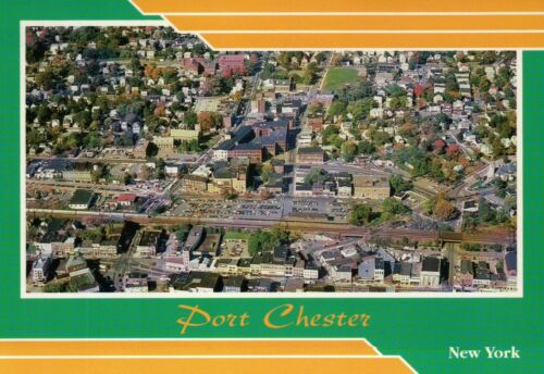 Main Street New York Aerial View of Port Chester Postcard Train Station etc