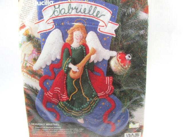 "New Bucilla Heavenly Minstrel Jeweled Felt Stocking 15"" Kit Christmas Angel 1995"