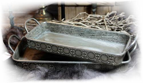 Nostalgisches Tablett Deko-Schale Metall Shabby Landhaus Vintage Silber Antik