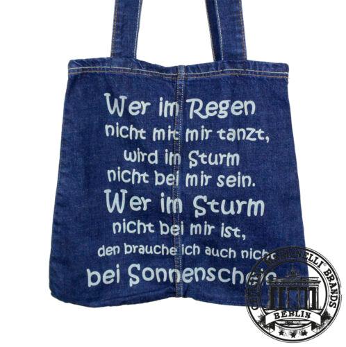 IM REGEN TANZT. T25 Jeans Denim Tote Bag Marionelli Tasche  Stofftasche Beutel