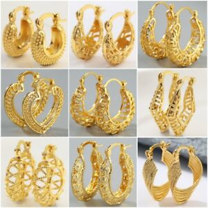Details About Round Women Hoop Earrings Pendant Charm Gold Jewelry Gift Wedding Engagement