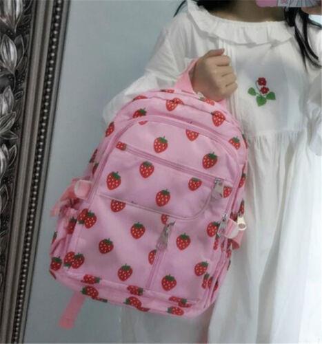 Kawaii Pink Strawberry Canvas Student School Bag Backpack Sweet Girls Gift Bag