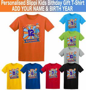 Personalised Tv Blippi Kids T-shirt Bithday Gift Youtuber Fans Boys Girl Top Tee