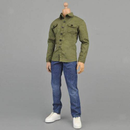 "1:6 Army Green Shirt /& Jeans Outfits for 12/"" Hot Toys BBI Dragon Figure Body"