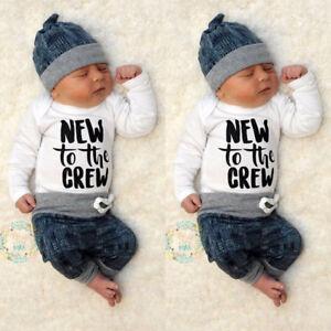 Newborn Baby Boy Girl Clothes Jumpsuit Romper Bodysuit Long Pants