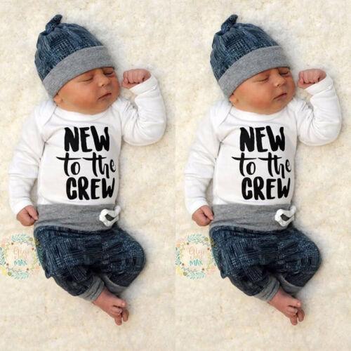 Newborn Baby Boy Girl Clothes Jumpsuit Romper Bodysuit Long Pants Hat Outfit Set