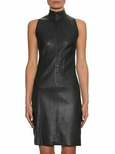 Women's Genuine Black Leather Dress Sleeveless Bodycon Leather Dress Slim Fit