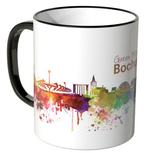 """Schriftzug /""""Guten Morgen Bochum!/"""" mit Skyline verschie Farben WANDKINGS Tasse"""