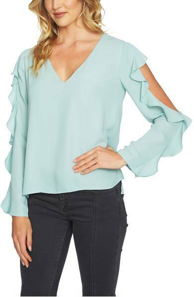 NWT 1.State Cold Shoulder Ruffle Blouse - Mint Leaf - xsmall