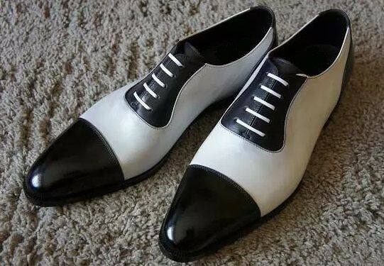 MEN HANDMADE FORMAL FORMAL FORMAL CASUAL LEATHER TWO TONE BLACK & Weiß SPECTATOR Schuhe dc2e5a