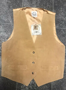 Suede-By-Design-S-M-8-12-Real-Suede-Waistcoat-Brown-Leather-Country-Autumn