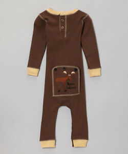 e5c034a2b3 NEW Infant Baby Lazy One Piece Union Suit Pajamas Brown Girls Boys ...