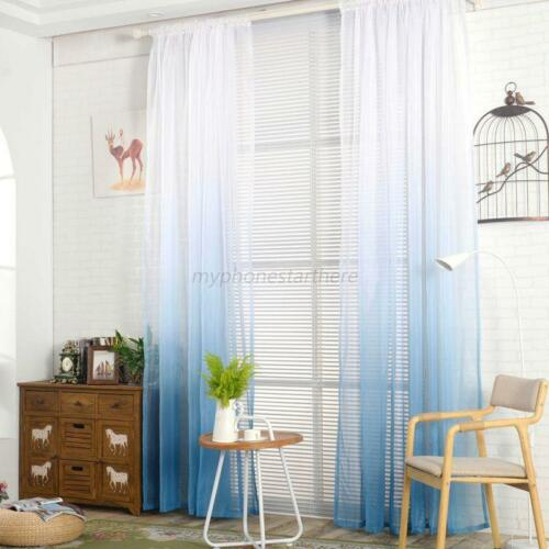 Gradient Color Valance Tulle Voile Door Sheer Window Curtain Panel Drape Divider