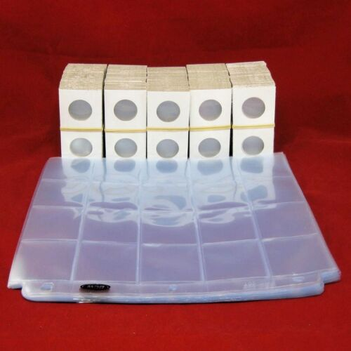500 Cardboard 2x2 Mylar Coin Holders for Small Dollars with 25 Pocket Pages