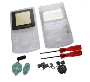 Gameboy-Game-Boy-Color-GBC-Crystal-Clear-Shell-Case-Housing-w-Screen-amp-Tools-UK