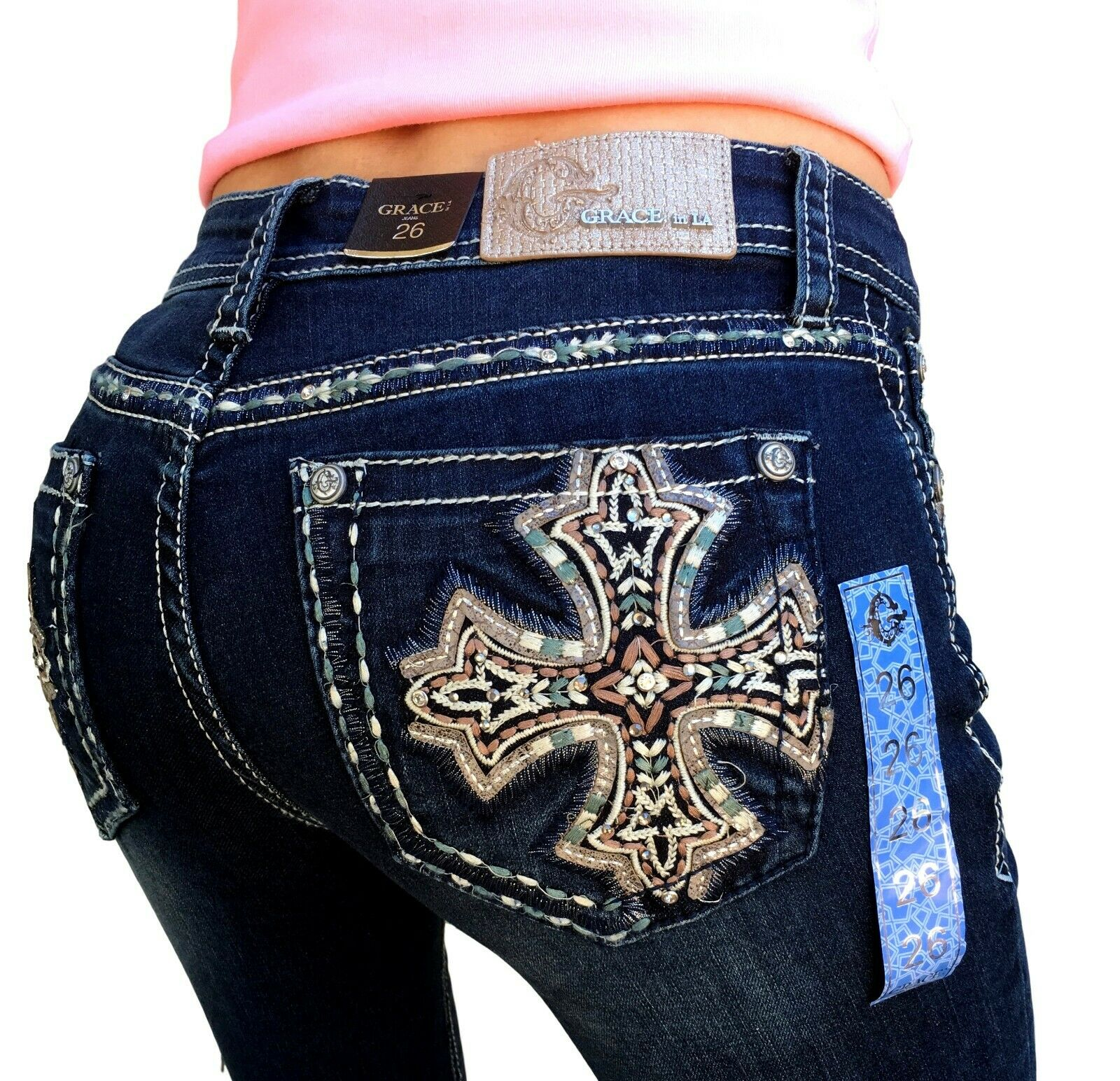 Grace In LA Jeans Mid Rise Boho Cross Easy Bootcut 26 27 28 29 30 31 32 33 34