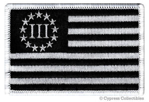 III-PERCENTER-BLACK-FLAG-PATCH-embroidered-iron-on-2nd-AMENDMENT-3-GUN-RIGHTS