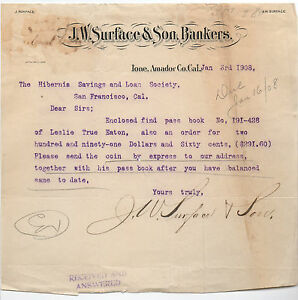 1908-Letterhead-J-W-Surface-Bankers-Ione-Amador-Co-CA