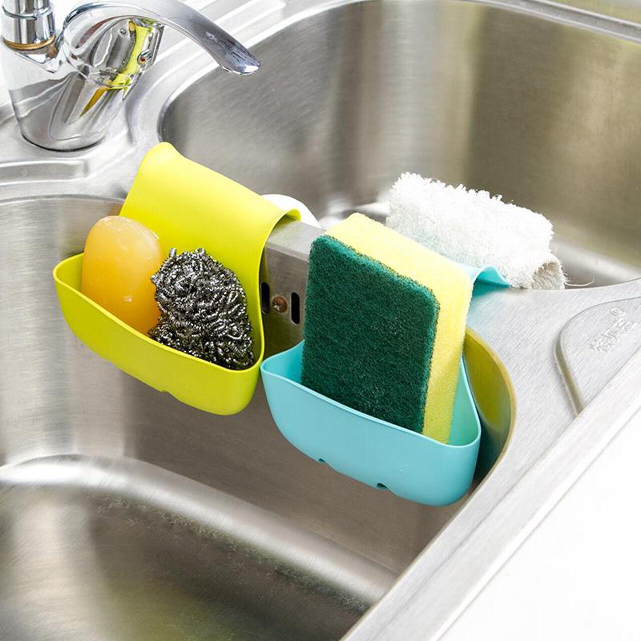 Kitchen Sink Sponge Holder: Storage Double Sink Caddy Saddle Style Kitchen Organizer