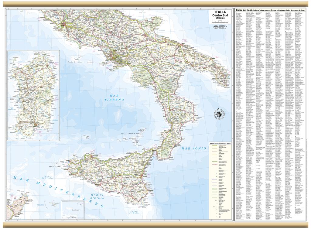 Cartina Geografica Centro Nord Italia.Italia Centro Sud Cartina Murale 119x88 Cm Carta Mappa Poster Belletti Ebay