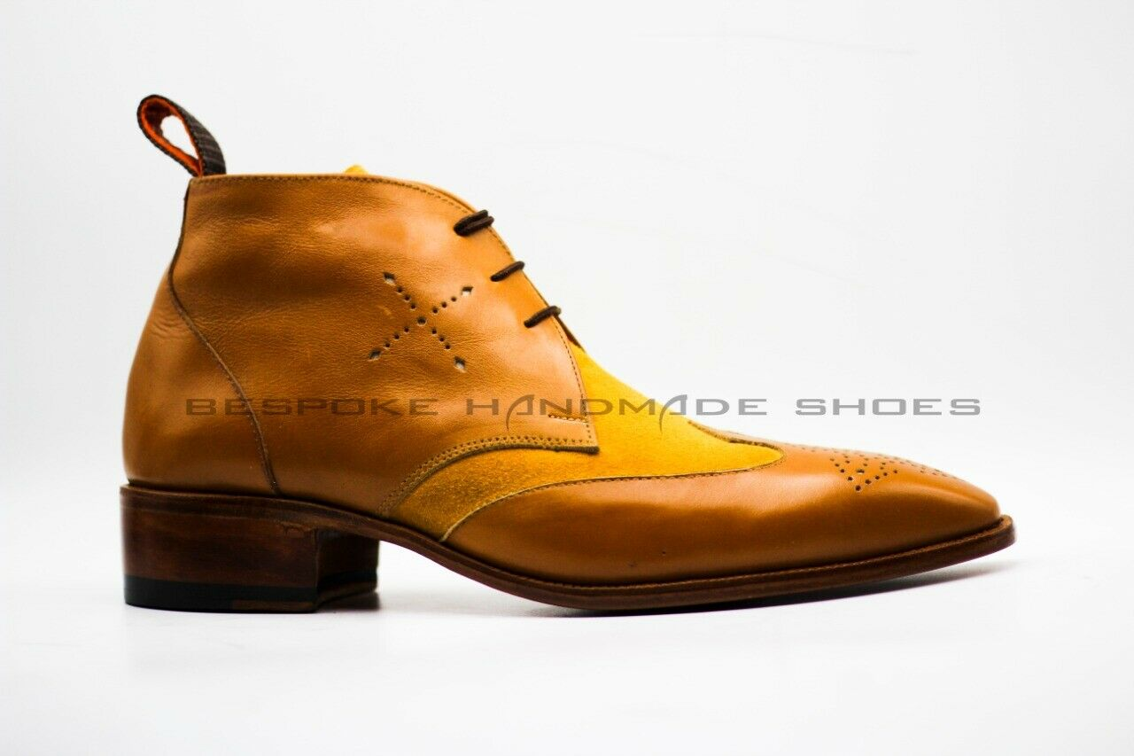 Handmade Men's Genuine Tan Leather & Suede Oxford Lace Up Ankle Formal Boots
