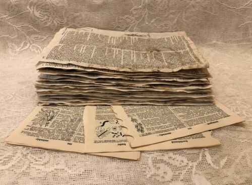 Coffee Stained Vintage Dictionary Pages Mix Of Coffee /& Natural Aged Ephemera
