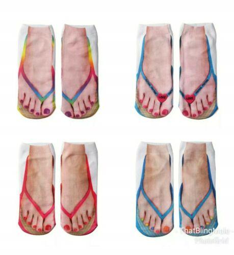 Girls Low Ankle Socks Novelty Xmas Secret Santa Flip Flop Socks Pairs Ladies