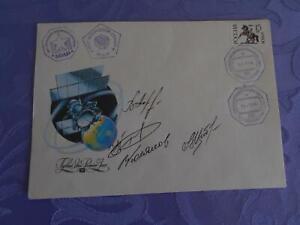 Sojus TM-18 geflogene MIR Bordpost  4x O.U. Space